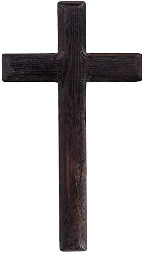 Famyfamy para Pared Colgante de Pared Madera Jesús Cristo Cruz Rústico Madera Cruz Madera Cruz para el Hogar Bodas Meditación Iglesia Negro - Negro, 16 * 2 * 28CM (Wall Size)