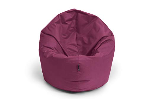 BuBiBag Sitzsack 2-in-1 Funktionen mit Füllung Sitzkissen Bodenkissen Kissen Sessel BeanBag (100 cm Durchmesser, weinrot)
