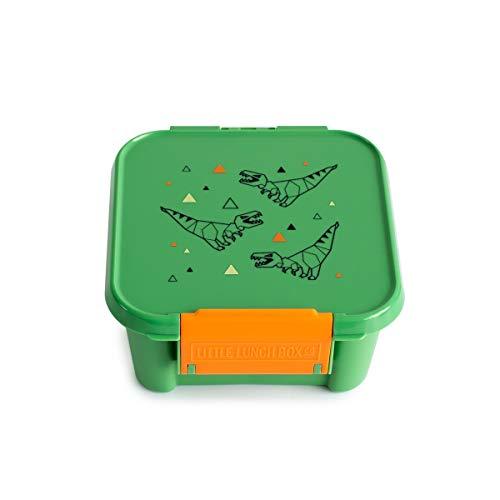 Little Lunch Box Co. Mini Snackbox für Kinder mit Unterteilungen | Bento Box | Brotdose (T-Rex)