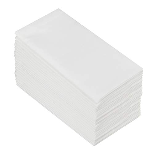 COTTON CRAFT Classic Cotton Set of 24 Pure Cotton Solid Color Dinner Napkins, 20 inch x 20 inch, White