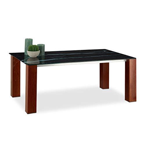 Relaxdays, zwart/bruin salontafel glas, gehard tafelblad, metalen poten in palissander-look, HxBxD: 109 x 60 x 42 cm, standaard