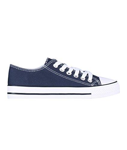 KRISP Zapatillas Mujer Tipo Estilo Imitación Casuales Lona Cordones Baja Alta Puntera Goma, (Azul Marino (2345), 37 EU (4 UK)), 2345-NVY-4