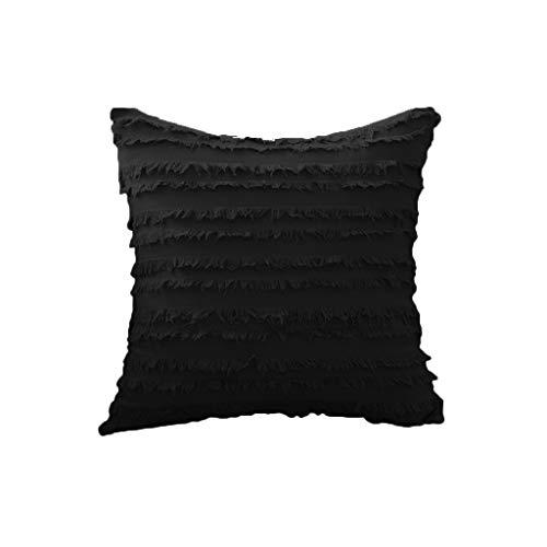 YOKING - Almohada de algodón y lino de estilo bohemio negro - Almohada con pompon, se utiliza en la habitación, el salón, el comedor, la cama, el sofá
