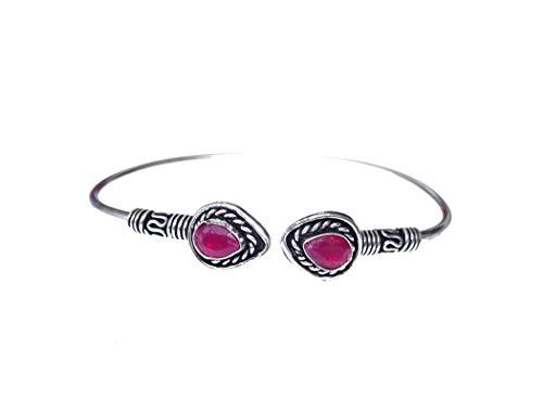 Pulsera de brazalete hecha a mano con piedras preciosas de rubí genuino para mujeres y hombres, chapado en plata de ley 925, único, tribal, étnico, fino, oxidado, ajustable, brazalete ajustable