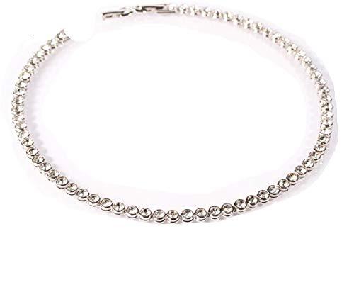 Le Bijou exkl. Tennis-Collier Swarovski-Kristalle rhodiniert 44/42 cm