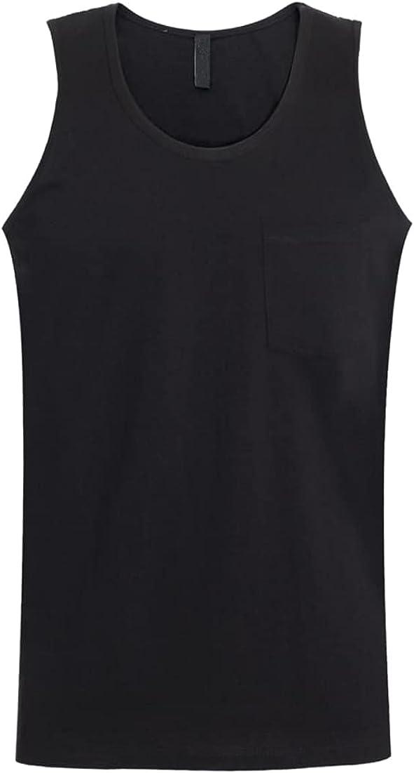 Men's Casual Pocket Sleeveless Crewneck Premium Cotton Solid Regular Fit Basic Tank Top Shirt