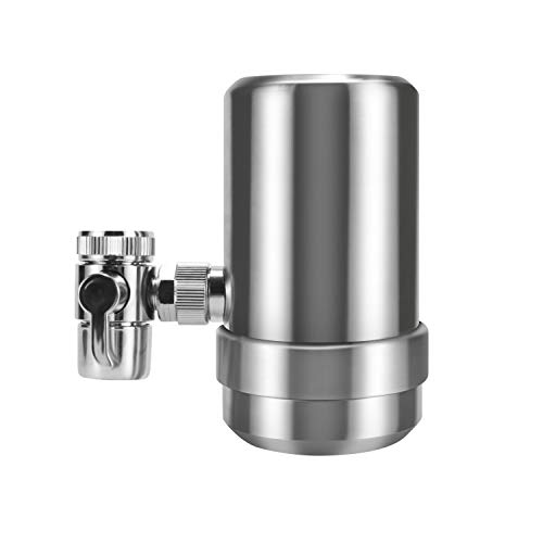 Insputer Tap Water Filter,Stainless-Steel Faucet Water Filter, Carbon Block Water Filtration System, Reduces Chlorine, and Bad Taste (1 Filter Included)