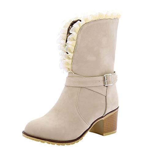 Inawayls Stiefelette Damen Chelsea Boots Elegante Spitze Schnürhalbschuhe Plateau Stiefeletten mit Blockabsatz in Holzoptik