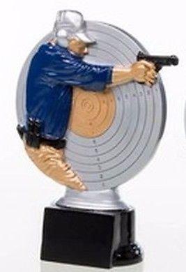 RaRu Schützen-Pokal (Pistolenschütze) mit Wunschgravur und 3 Schützen-Anstecknadeln (Sticker)