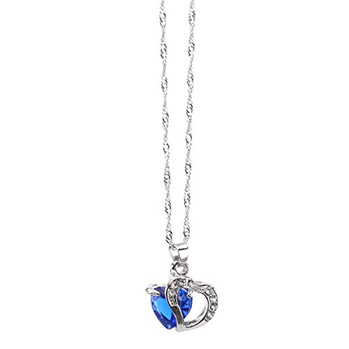 Beiswe Austrian Crystal Rhinestones Pendant Love Heart Chain Necklaces for Women Girls Jewelry Gifts (Royal Blue)