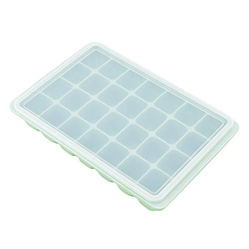 28Grids DIY siliconen ijsblokjesbak, diepvriespuddingvorm, chocoladevorm, bakken met deksel voor eierbijten, ijsvorm, bewaardoos voor babyvoeding bamboegroen.