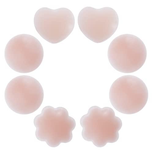 Rovtop 4 Paires Réutilisable Cache-tétons Auto-adhésif Invisible en Silicone Nipple Cover Ronde & Prune & Love-Type avec Un Sac de Rangement en Coton