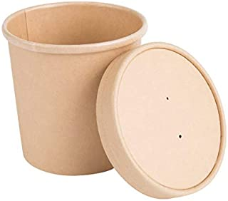 16 oz Pint Disposable Paper Food Storage Containers with Vented Lids, Pack of 25. Biodegradable, Compostable, Great for Soups, Ice Cream, 'to Go' Lunch, Hot & Cold Meals. Kraft Brown