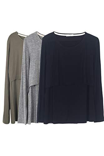 Smallshow Mujer Top Camiseta Premamá Lactancia De Manga Larga 3 Pack,Black Grey Army Green,XL