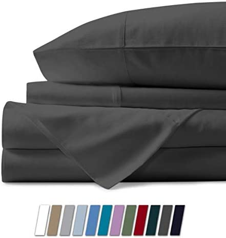 """1000 Thread Count Best Bed Sheets 100% Egyptian Cotton Sheets Set – Stone Grey Long-Staple Cotton Queen Sheet for Bed, Fits Mattress Upto 18"""" Deep Pocket, Soft & Silky Sateen Weave Sheets"""