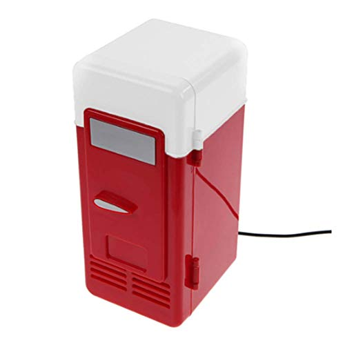 FSJD Mini Nevera con congelador, pequeña y Barata, Mini Nevera portátil para Dormitorio al Aire Libre, USB Coca Cola, Mini Nevera...