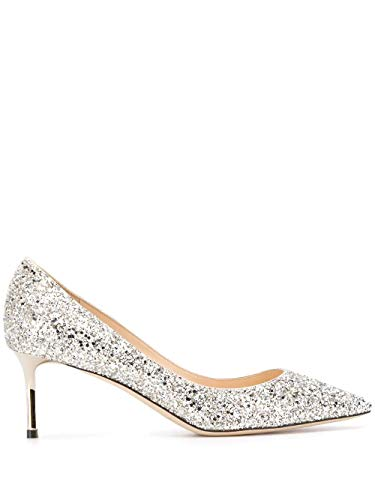 JIMMY CHOO Luxury Fashion Damen ROMY60CGFCHAMPAGNE Silber Glitzer Pumps | Frühling Sommer 20