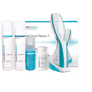 HairMax Prima 7 LaserComb with Thinning Hair Care bundle.