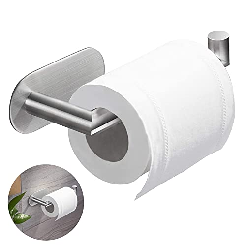 Toilettenpapierhalter Ohne Bohren, Selbstklebend Klorollenhalter, Toilettenpapierhalter, Klopapierhalter Edelstahl WC Papier Halterung, Papierhalter für Küche und Badzimmer(Silber)