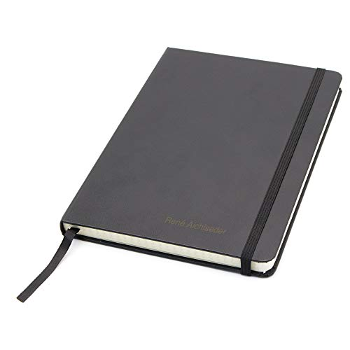 Notizbuch mit Namen - schwarz - DIN A4 - kariert