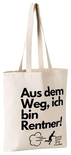 FremiBag Rentner Tasche | Stofftasche zum Einkaufen mit viel Kapazität für ihre wichtigen Dinge | Geschenk für Rentner und Firmenfeiern | Geschenk zur Pensionierung