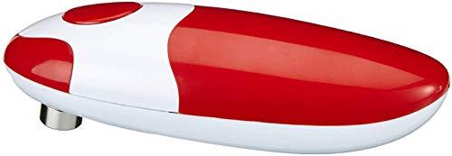 GOURMETmaxx Dosenöffner elektrisch Touch and Go, Elektrischer Dosenöffner zur Automatischen Dosenöffnung ohne Verletzungsgefahr, mit One Touch Schalter [Metall/ Kunststoff, rot]