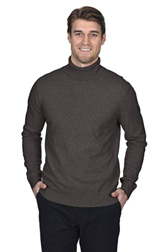 State Fusio Men's Turtleneck Sweater Cashmere Merino Wool Long Sleeve Roll Neck Pullover (Medium, Coffee)
