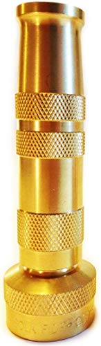 Hose Nozzle High Pressure - Lead-Free Brass for Car Or Garden - Solid Brass - Adjustable Water Sprayer from Spray to Jet - Heavy Duty - Fits Standard Hoses - with Gardening E-Book