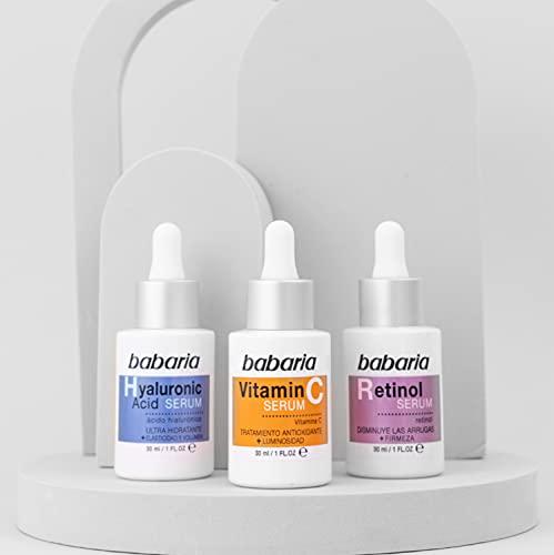 Babaria Pack Serum Compuesto por 1 Serum Ácido Hialurónico 30Ml, 1 Serum Vitamina C 30Ml y 1 Serum Retinol 30Ml