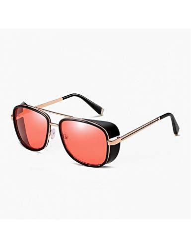 DPDH Gafas Gafas De Sol Steampunk Masculinas Tony Stark Gafas De Sol Iron Man Gafas Retro Retro Gafas De Sol Steampunk8-Black-Red