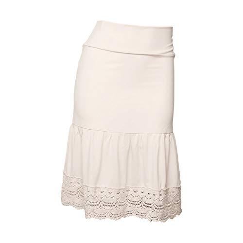 Peekaboo-Chic Desert Rose Half Slip Skirt Extender - Plus Size Crochet Skirt Extender for Women - 2X Cream