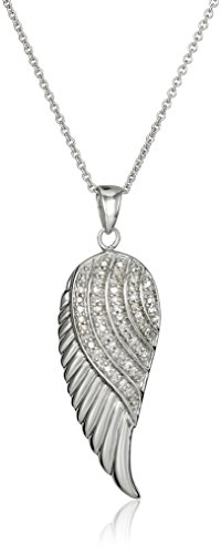 Jewelili Sterling Silver 1/10 Cttw Natural White Round Diamond Angel Wing Pendant Necklace, 18' Rolo Chain