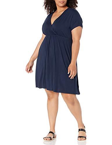 Amazon Essentials Vestido Superplice-Tallas Grandes Dresses, Azul Marino, 4X