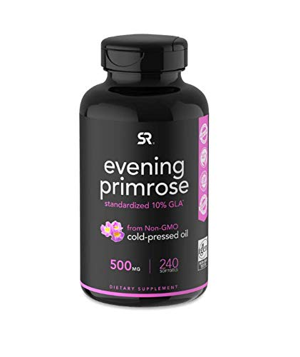 Evening Primrose Oil (500mg) 240 Mini-Liquid Softgels, Cold-Pressed with No fillers or Artificial Ingredients; Non-GMO & Gluten Free