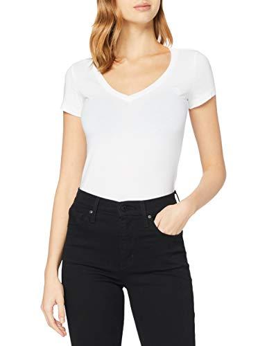 G-STAR RAW Damen T-Shirt Base V T Wmn Cap Sl, Grau (White 110), Small