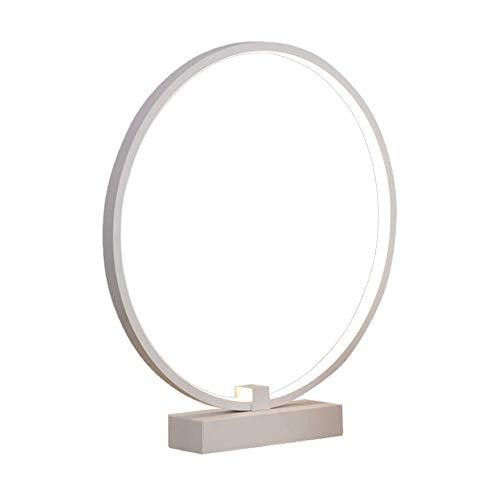 Modern Rund Tischlampe LED 16W Warmweiss Licht Schreibtischlampe Ring Designerlampe Weiß Metall Und...