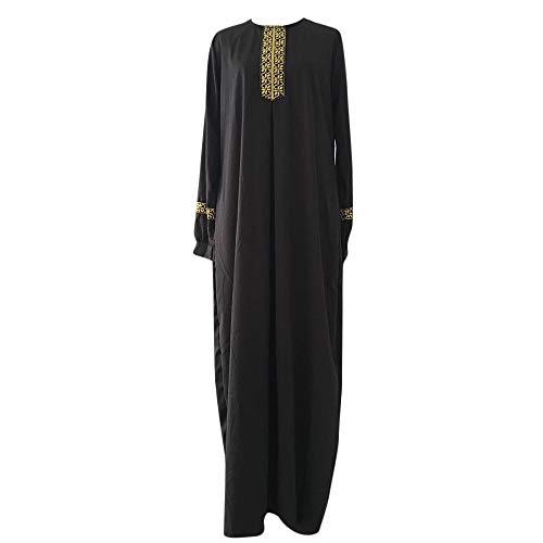 REALIKE Muslimische Damen Robe Kaftan Maxikleid Langarm Rayon Sticken Gewand Formal Modest Abendkleid Große Größe Abaya Dubai Kleider Muslim Frauen Hochzeit Kleid Tunika Kleidung islamischen Kleid