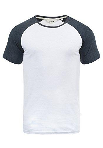 !Solid Bastian Herren T-Shirt Kurzarm Shirt Mit Rundhalsausschnitt, Größe:L, Farbe:White Blue Melange (B0001)