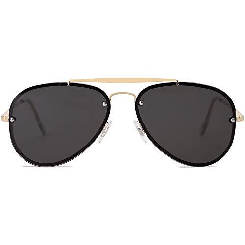 SOJOS Men's Women's Aviator Sunglasses, Rimless Metal Frame TRENDALERT SJ1105 with Gold Frame/Grey Lens