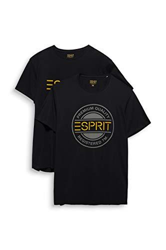ESPRIT Herren 020EE2N301 T-Shirt, 2 er pack, Schwarz (Schwarz 001) ,M