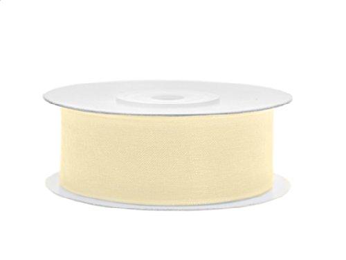 SiDeSo® Chiffonband 25m x 25mm viele Farben Hochzeit Organza Dekoband Geschenkband Antennenband Schleifenband (creme)