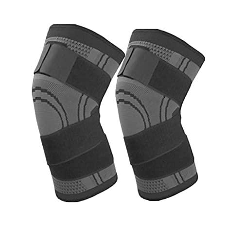 Rodilleras Rodilleras Protector Rodillera de Compresión Cinturón de Apoyo Elástico, Utilizado para Correr Baloncesto Voleibol L40-45Cm 1 Par Gris