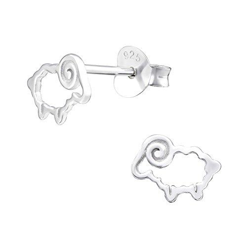 Laimons Pendientes infantiles para niñas, joyas para niños, oveja, cabra, animales, 8 mm, brillante, de plata de ley 925