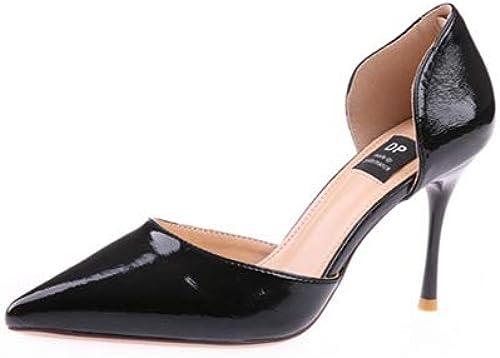 HOESCZS Chaussures de Travail Noires pour Femmes,Printemps 2019,Nouveaux Souliers à Talons en Cuir Verni et à Talons Plats vides,Chaussures Simples