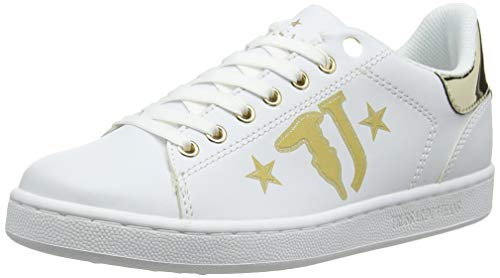 Trussardi Jeans Sneakers Printed Logo with Stars, Sneaker Donna, Oro (Light Gold M053), 36 EU
