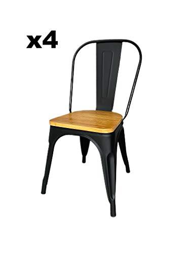 Ma New Déco - Juego de 4 sillas de Bistrot, industrial, estilo Tolix vintage, cocina, metal, color negro y madera retro