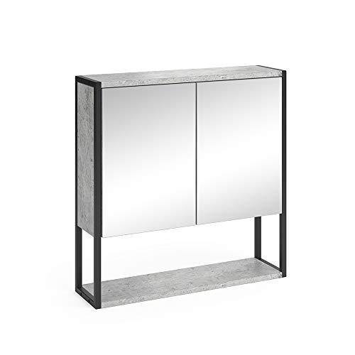 Vicco Spiegelschrank Fyrk Badschrank Badmöbel Badspiegel mit Ablagen Wandspiegel (Beton)