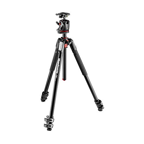 Manfrotto 190XPRO Aluminum 3-Section Tripod Kit with Ball Head (MK190XPRO3-BHQ2),Black