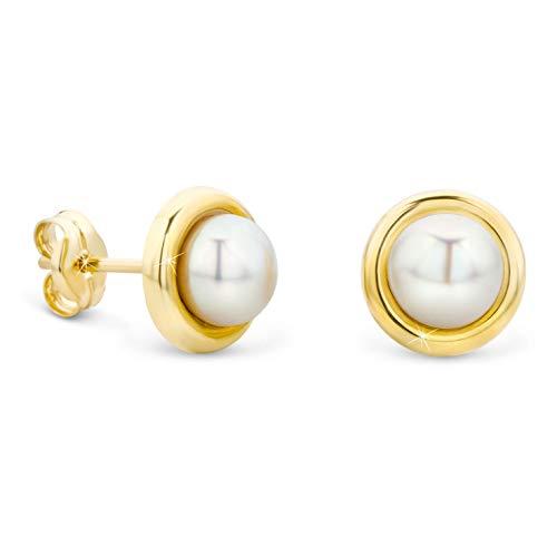 Orovi Damen Ohrringe Perlen Set Ohrstecker 9 Karat Gold Gelbgold (375) Schmuck