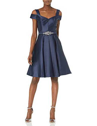 Eliza J Women's Off The Shoulder Flared Dress, Navy, 8